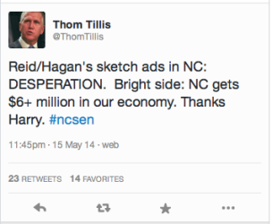 Tillis: Tweeting While Intoxicated or just thin-skinned?
