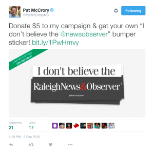 McCrory versus the Fourth Estate