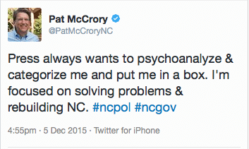 McCrory's spin in the twitterverse